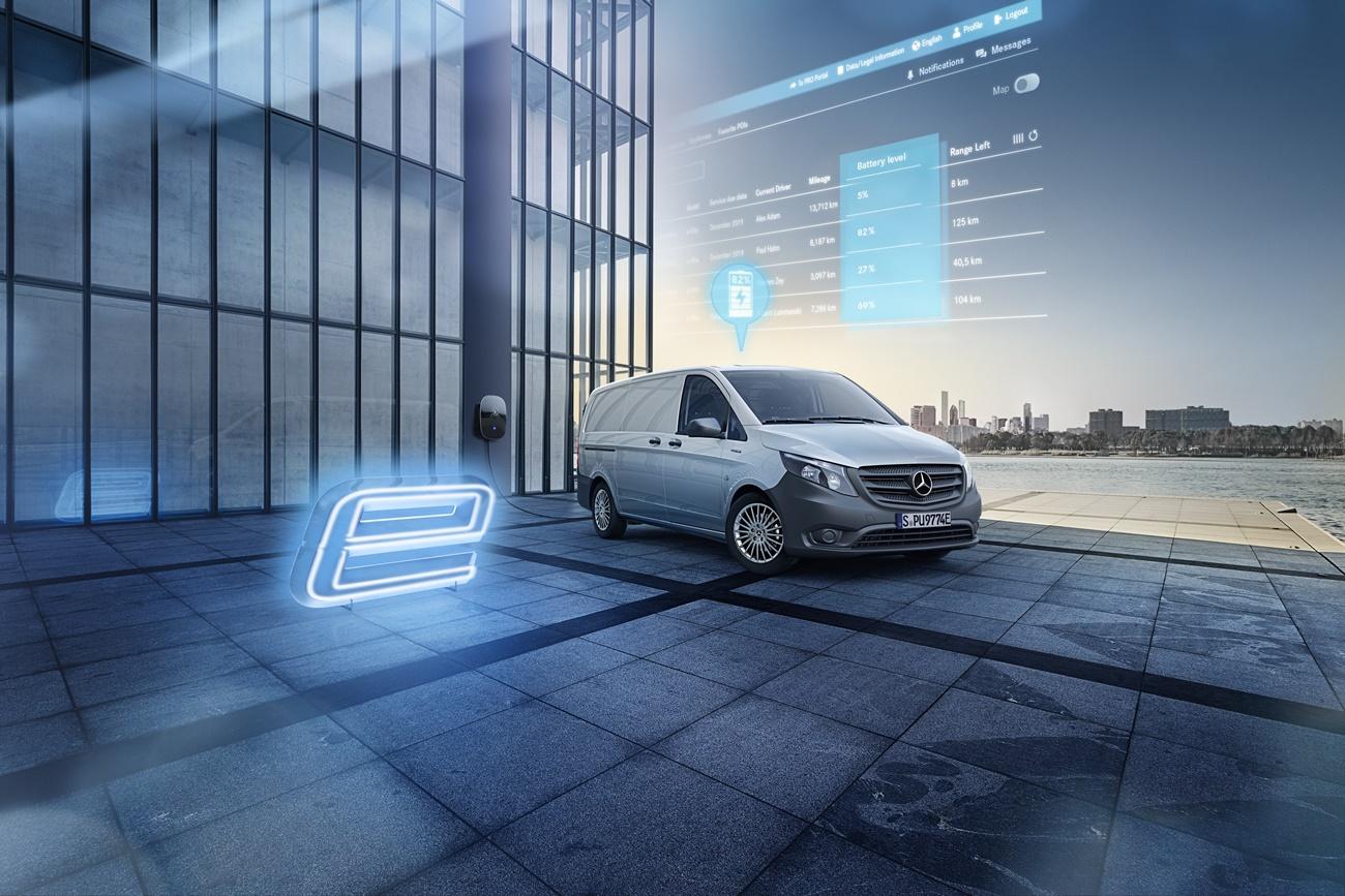 Maßgeschneiderte Konnektivitätsdienste für Elektrofahrzeuge: Mercedes-Benz eVito in Deutschland mit den Flottendiensten von Mercedes PRO connect verfügbarTailor-made connectivity services for electric vehicles: Mercedes-Benz eVito available in German